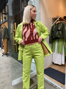 Lili Leather Jacket in Light Green