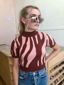 Zoe Short Sleeve Sweater in Pink Zebra