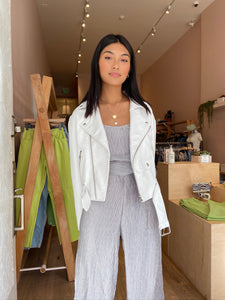 Ripple Pleat Jumpsuit in Silver