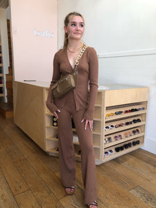 Willow Knit Flare Pant in Chocolate