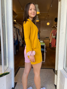 Duo Sweater Cardi in Mustard/Rose