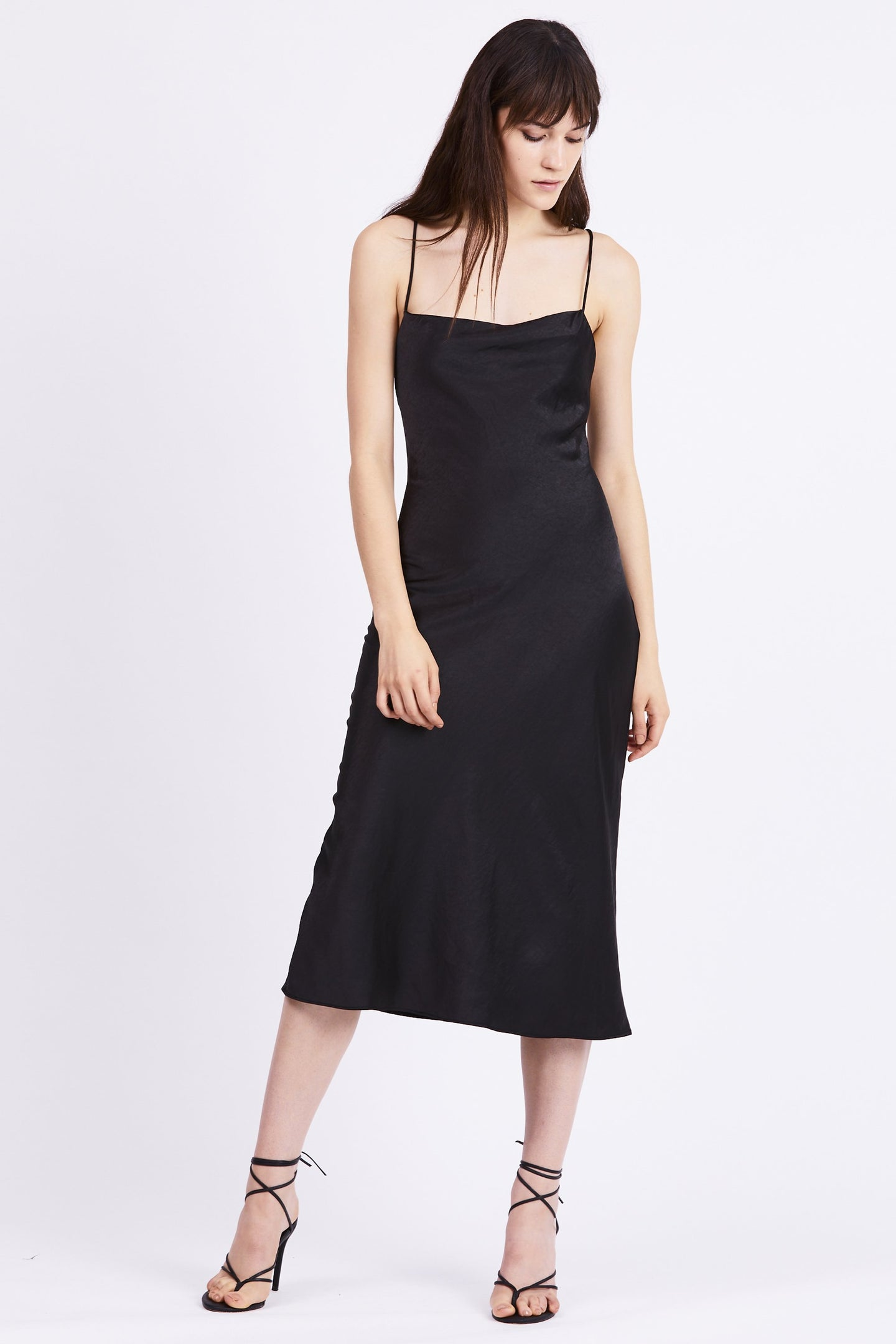 Say Bias Slip Dress Black