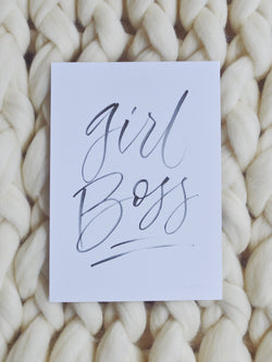 Limited Edition Hand drawn 'Girl Boss' quote by Artsynibs