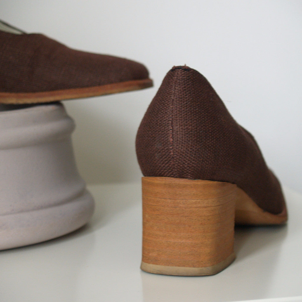 Brown Block Heel Pumps