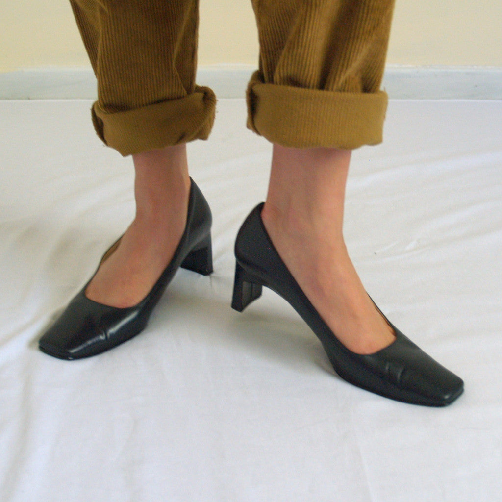 Navy Square Toe Pumps
