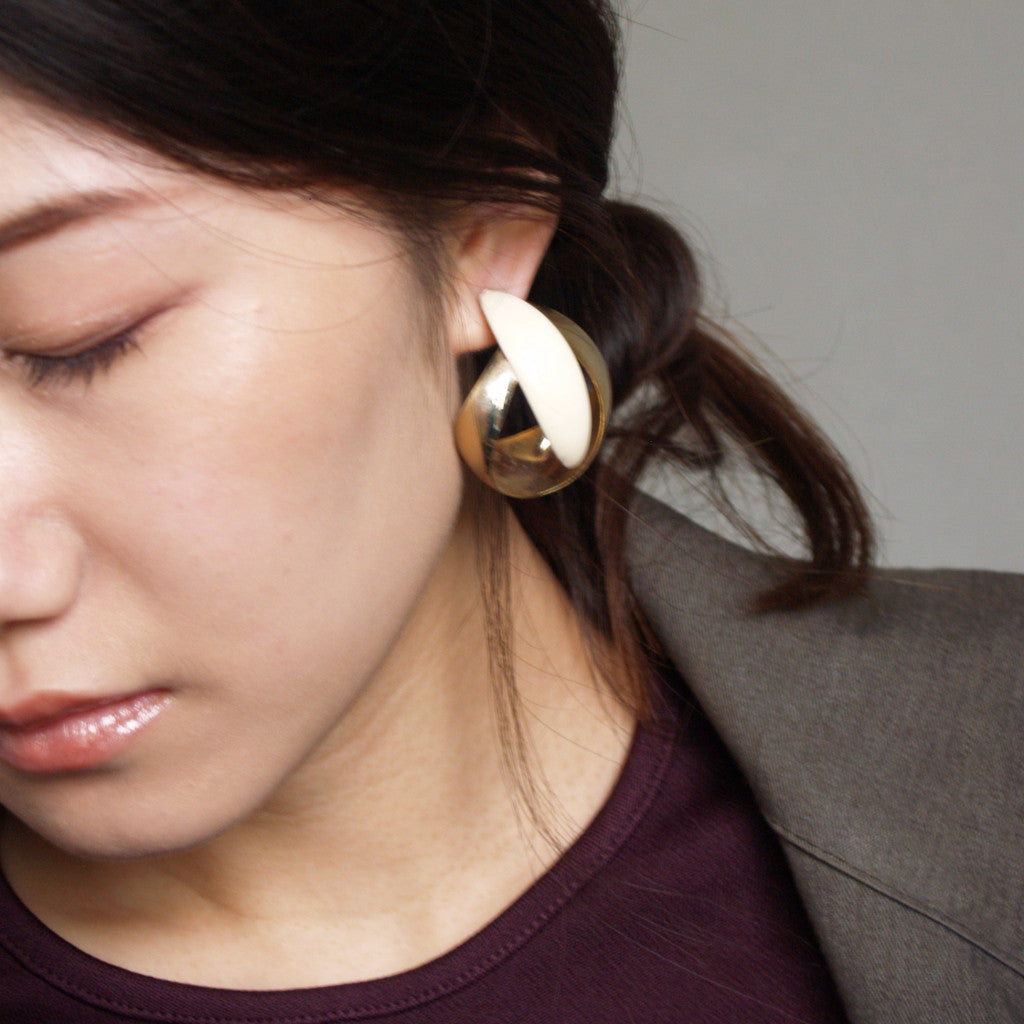 Oversized Gold Enamel Earrings
