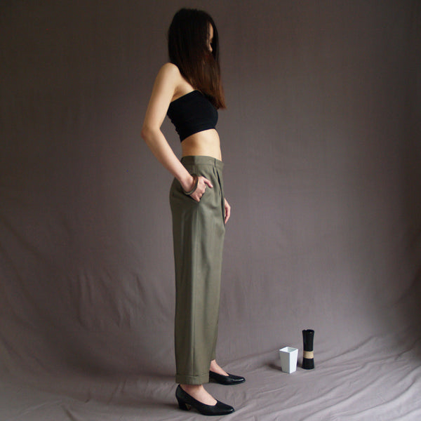 Khaki High Waist Wool Pants