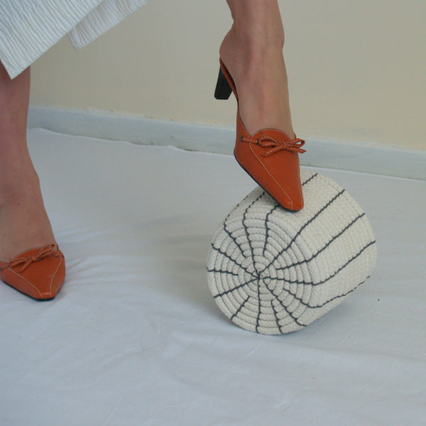 Orange Kitten Heel Slides