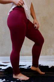 Basic Leggings-Burgundy
