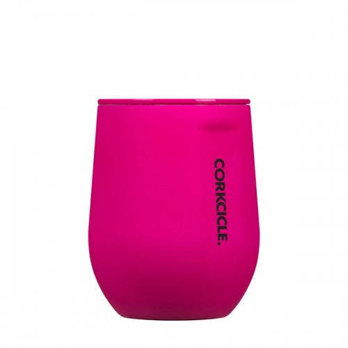 Corkcicle- 12oz Stemless- Neon Pink