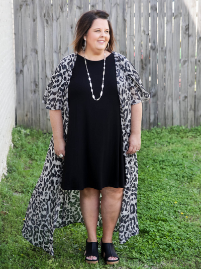First Class Leopard Duster in Grey