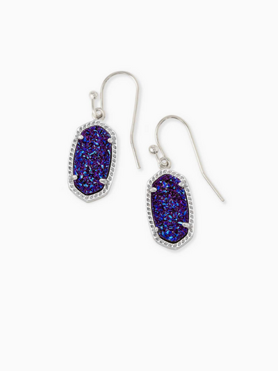 Kendra Scott: Lee Earring: Silver Indigo Blue Drusy