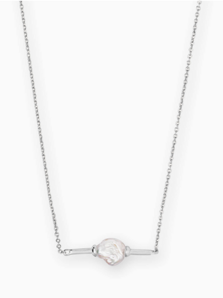 Kendra Scott: Emberly Necklace-Silver Pearl