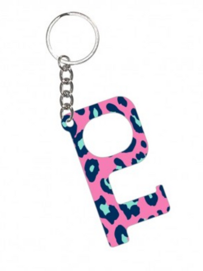 Hands Free KeyChain-Hot Pink Leopard