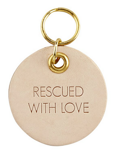 Pet Tag Leather- Rescued with Love