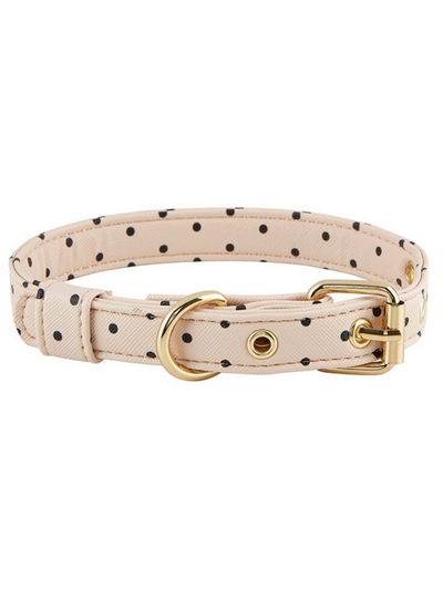 Dog Collar - Saffiano Blush Polka-a-dot
