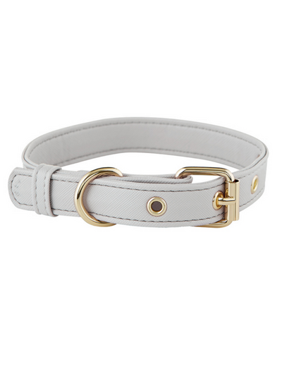 Dog Collar - Saffiano Grey