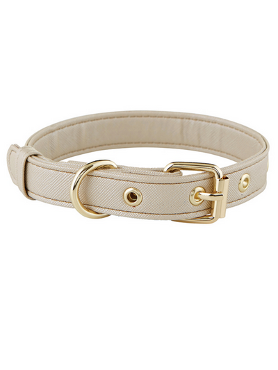 Dog Collar - Saffiano Champagne