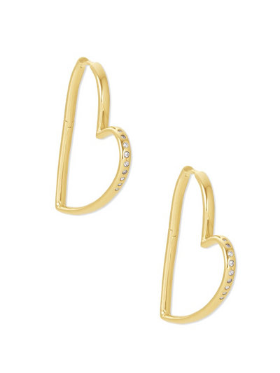 Kendra Scott: Ansley Heart Hoop Earrings In Gold