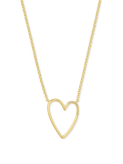 Kendra Scott: Ansley Heart Pendant Necklace In Gold