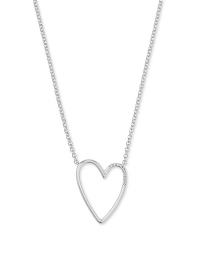 Kendra Scott: Ansley Heart Pendant Necklace In Silver