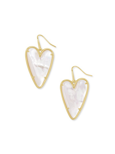 Kendra Scott: Ansley Heart Gold Drop Earrings In Gold Ivory MOP