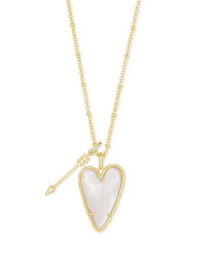Kendra Scott: Ansley Heart Gold Long Pendant Necklace In MOP