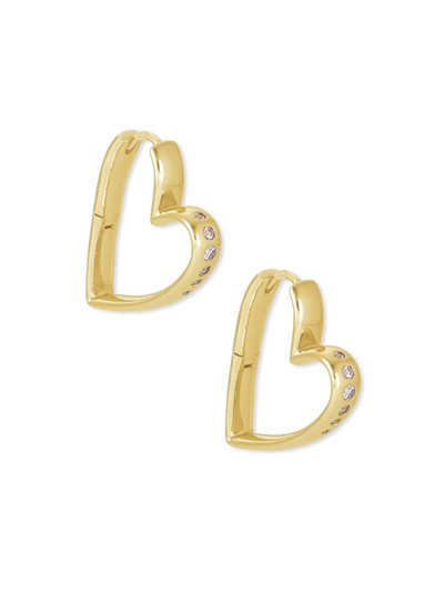 Kendra Scott: Ansley Heart Small Hoop Earrings In Gold