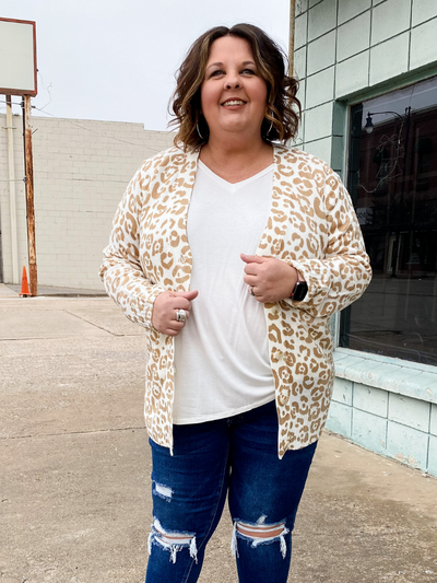 The Marcelo Cardigan- Taupe Leopard
