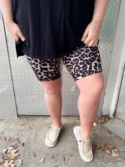 The Avery Biker Shorts - Brown Leopard