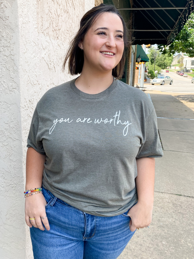 You Are Worthy Tee - Olive