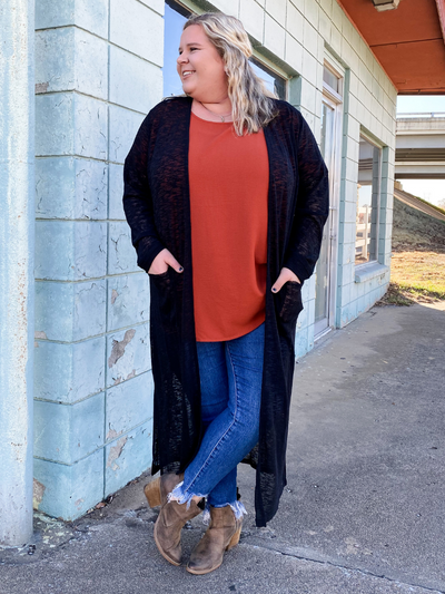 The Julianna Duster Cardigan- Black