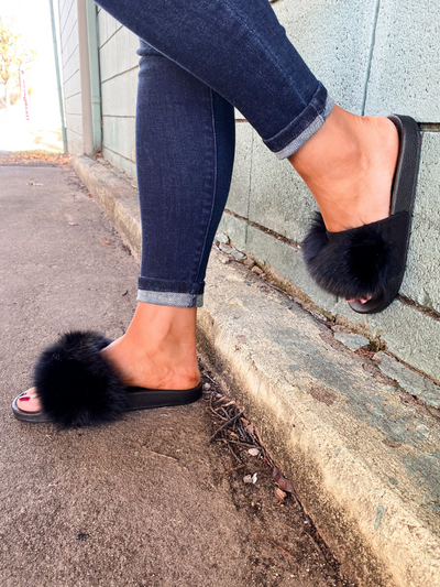 The Fanzzy Furry Flat Slipper - Black