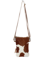 Myra Handbags - White and brown Hairon cross body bag