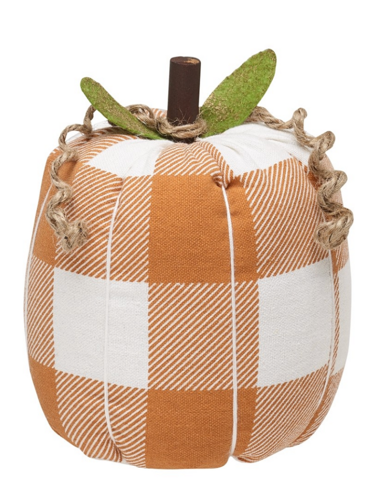 Orange Check Fabric Pumpkin Medium