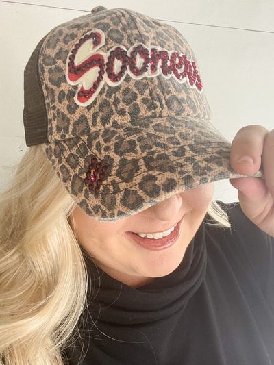 Sooners Bling Truckers Hat -  Leopard/Brown