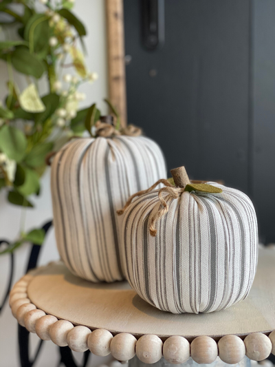 White Striped Fabric Pumpkin Large
