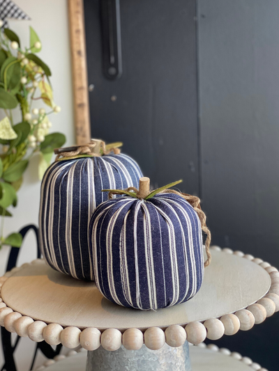Navy Striped Fabric Pumpkin Large