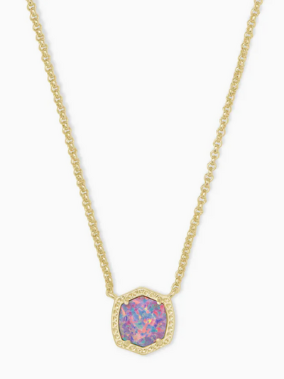 Kendra Scott: Davie Gold Pendant Necklace In Lavender Kyocera Opal