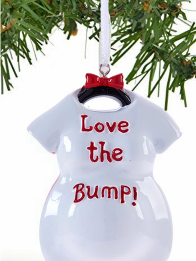 Expecting Baby Ornament- White