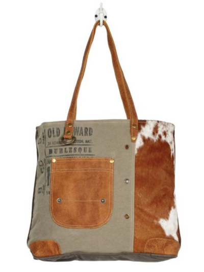 Myra Handbag- LEATHER POCKET TOTE BAG