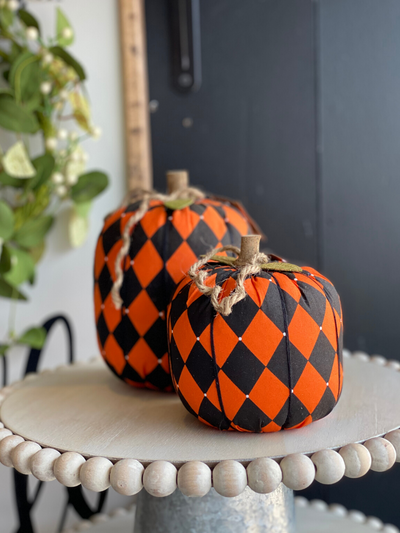 Harlequin Check Fabric Pumpkin Large