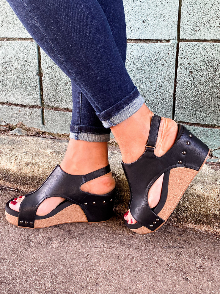 Carley Black Wedge