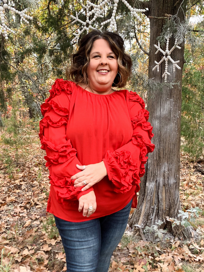 The Dianna Long Sleeve Ruffle Top - Christmas Red