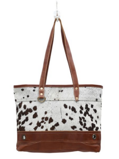 Myra Handbag-Combined Leather & Hair On Tote Bag
