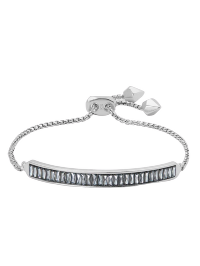 Kendra Scott - Jack Adjustable Silver Chain Bracelet In Charcoal Gray Crystal