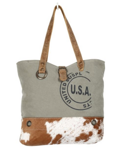 Myra Handbag- USA STAMP TOTE BAG