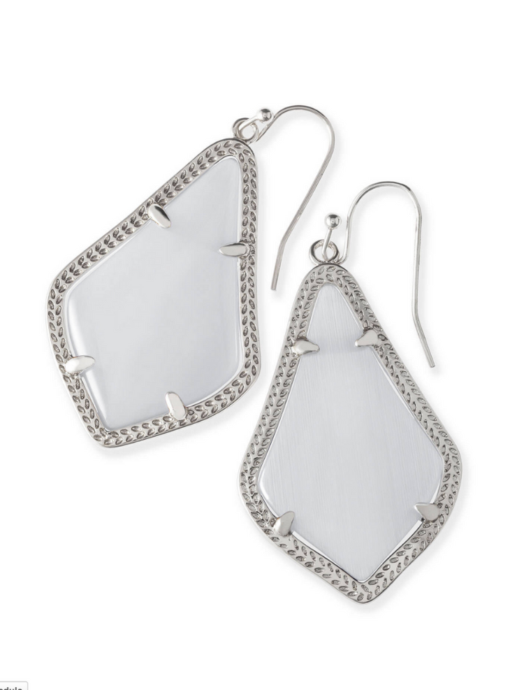 Kendra Scott Alex Silver Earring-Slate Cats Eye
