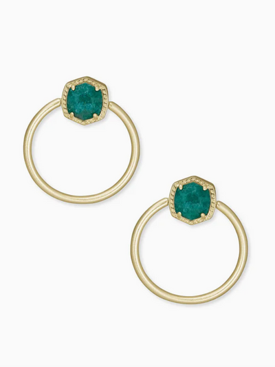 Kendra Scott:Davie Gold Hoop Earrings In Dark Teal Amazonite