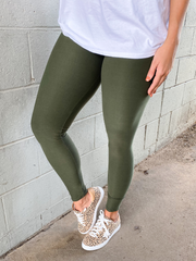 Basic Leggings-Olive